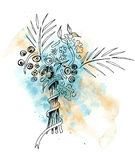 Water color spot 6. Water color drawing, bouquet of flowers stock illustration