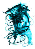 Water color textures. Water color and black pelt pen effect on white paper Stock Photo