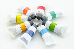Water color tubes. Royalty Free Stock Photo