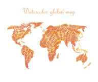 Water color world map for decoration. Vector illustration Royalty Free Stock Photography