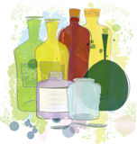 Water color yellow red green bottles Stock Image