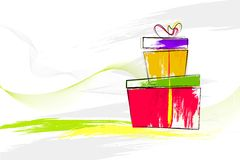 Water colored Gift Box Royalty Free Stock Photography