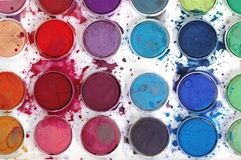 Water Colors. Child used Water Colors - close up Stock Images