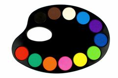 Water colors on black palette Stock Image