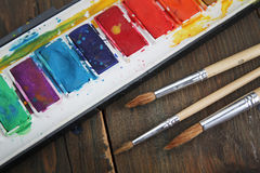 Water colors and brushes Royalty Free Stock Images