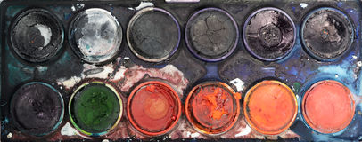 Water colors. Detail of used water colors Royalty Free Stock Photography