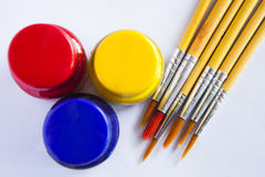 Water colors and paintbrush Stock Photography