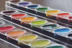 Water Colors. Selective focus on a set of watercolors paints Stock Photo