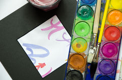 Water colors together with picture Royalty Free Stock Photography