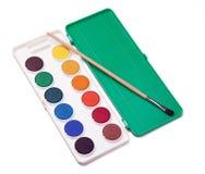 Water-colors y brocha Fotos de archivo