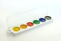 Water-colour. Six water-colours in the box, isolated Stock Photo