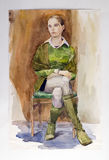 Water-colour. Watercolor portrait of a girl.  Academical art. I am the author of this drawing Royalty Free Stock Images