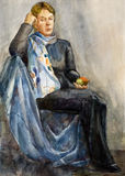 Water-colour. Watercolor portrait of a woman.  Academical art. I am the author of this drawing Stock Photography