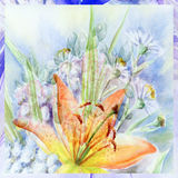 Water colour, bouquet with a lily stock photo