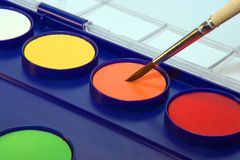 Water-colour box. Paint accessories Royalty Free Stock Photo