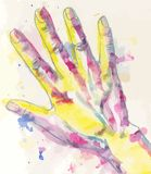 Water-colour drawing of hand Royalty Free Stock Photography