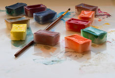 Water colour for drawing. Multi-coloured water colour for drawing stock image