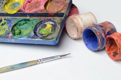 Water colour and gouache of paint Royalty Free Stock Photography