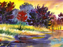 Water colour landscape Stock Image