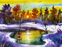 Water colour landscape Royalty Free Stock Photo
