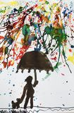 Water colour painted a young boy with his dog walking in the rain in colours and holding an umbrella. Water colour,art,abstract,white background,idea royalty free illustration