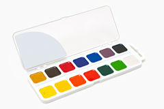 Water colour paints. Box with water colour paints isolated on white background Stock Photo