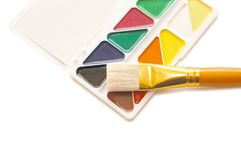 Water colour paints and brush Royalty Free Stock Images