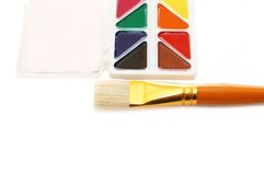 Water colour paints and brush Stock Photo