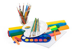 Water Colour Paints, Pencils And Brushes Stock Photos