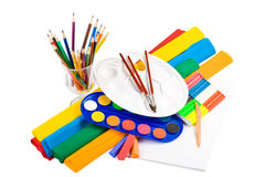 Water colour paints, pencils and brushes Royalty Free Stock Photography