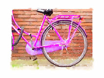 Water colour pink bicycle. Digital watercolour painting of a close-up of a pink bicycle in Amsterdam showing the back wheel and saddle with the bike resting Stock Photo