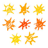 Water-colour suns. A set of water-coloured stylized sun silhouettes Royalty Free Stock Photo