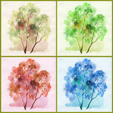 Water colour, trees Stock Photos