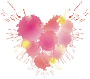 Water coloured heart. Water coloured pink and yellow heart Royalty Free Stock Photography