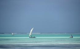 Water colours,Zanzibar,Tanzania. Fisher Boats Near the Beach ,Zanzibar,Tanzania Stock Photo