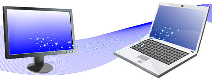 Water coming from computer to monitor. Vector illustration stock illustration