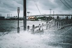 Water coming over the road. During Hurricane Harvey near Kemah Texas Stock Image