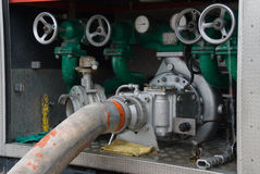 Water compressor in fire brigade vehicle Royalty Free Stock Photography
