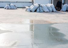 Water on concrete before repair waterproof cement. Over view, water on concrete before repair waterproof cement treatment system Stock Photo