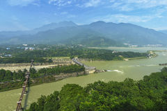 Overlooking water conservancy landscape at dujiangyan. Yuzhui landscape part of water conservancy system at dujiangyan , China built by libing 2000 years ago Royalty Free Stock Photo