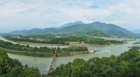 Overlooking water conservancy at dujiangyan Royalty Free Stock Images