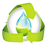 Water Conservation. A conceptual image of water conservation nested in a recycling logo vector illustration
