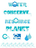 Water conservation graphics. A set of water conservation graphics stock illustration