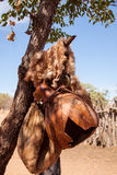 Water Container and Fur in Himba Village, Namibia Stock Photo