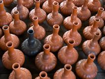 Close up picture of Water container made from clay. Water container made from clay. Large group of object Stock Photo
