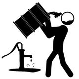 Water contamination icon. Icon of a man drinking contaminated water from barrel vector illustration