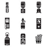 Water cooler black icons. Set of black monochrome icons for water cooler items isolated on white background. Electric water cooler, purifier, water delivery Stock Photography