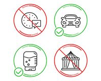 Water cooler, Car and Select alarm icons set. Circus tent sign. Office drink, Transport, Time symbol. Vector. Do or Stop. Water cooler, Car and Select alarm royalty free illustration