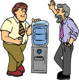Water cooler chat. Two guys talk by the water cooler Stock Photo