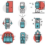 Water cooler flat line colored icons Stock Images